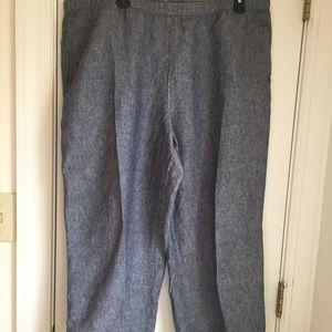 J.Jill XL love linen ankle pants w/pockets